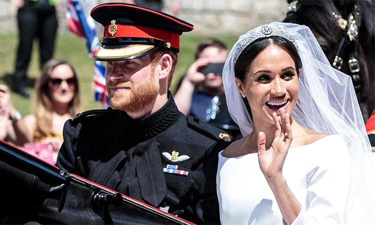 Hoàng tử Anh Harry và Công nương Meghan trong lễ cưới Hoàng gia năm 2018. Ảnh: NBC News.