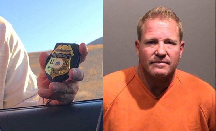 Michael Nelson (phải) và phù hiệu đặc vụ giả. Ảnh: Jefferson County Sheriffs Office.