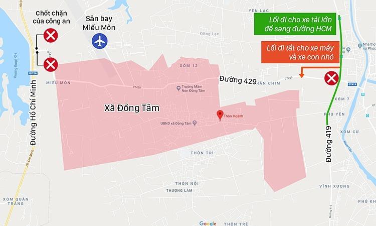Quãng đường từ thôn Hoành đến khu vực sân bay Miếu Môn là 5 km, hai hướng từ đường lớn dẫn vào xã Đồng Tâm có lực lượng chức năng túc trực kiểm soát người ra vào. (Xem bản đồ cỡ lớn) Đồ họa: Việt Chung.