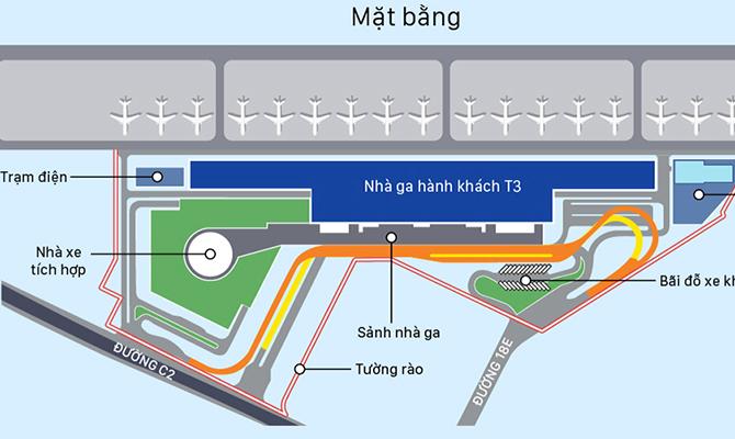 Nhà ga T3 Tân Sơn Nhất. Đồ họa: Việt Chung.
