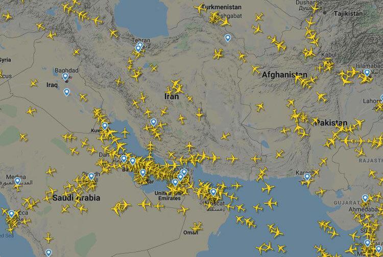 Các máy bay trên bầu trời Trung Đông trưa 15/1. Ảnh: Flightradar24.