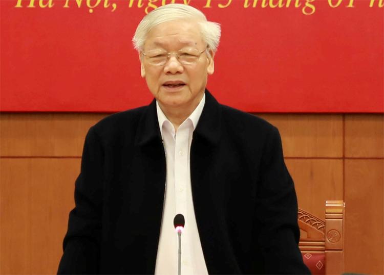 Ông Nguyễn Phú Trọng trong phiên họp ngày 15/1. Ảnh: VGP