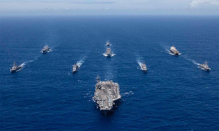 Nhóm tác chiến tàu sân bay USS Ronald Reagan trong một cuộc diễn tập năm 2018. Ảnh: US Navy.