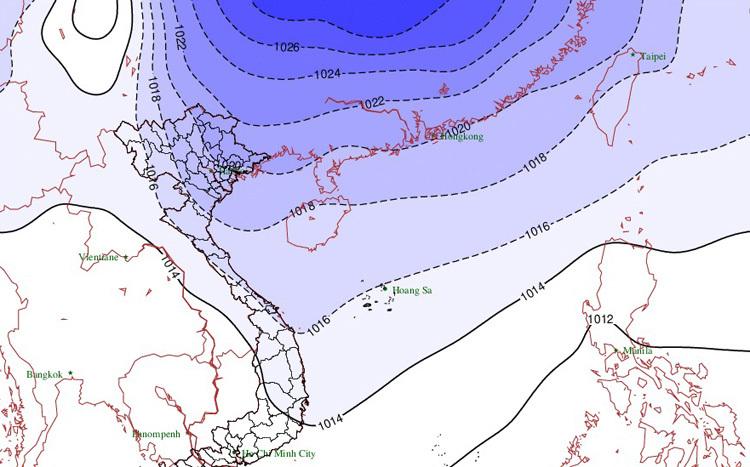 Không khí lạnh tràn xuống miền Bắc và Trung. Đồ họa: NCHMF.