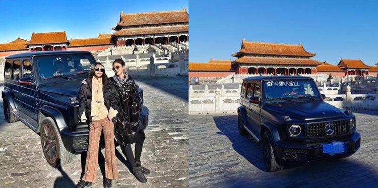 Lu Xiaobao và bạn chụp ảnh tại Tử Cấm Thành hôm 13/1. Ảnh: CCTV
