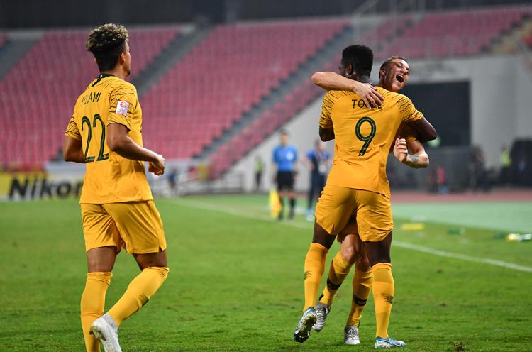 Hassan Tourre ăn mừng khi ghi bàn thắng duy nhất giúp Australia đánh bại Syria tối 18/1. Ảnh: AFC