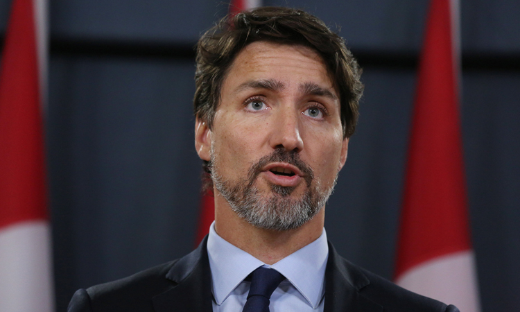 Thủ tướng Justin Trudeau trong buổi họp báo tại thủ đô Ottawa hôm 17/1. Ảnh: AFP.
