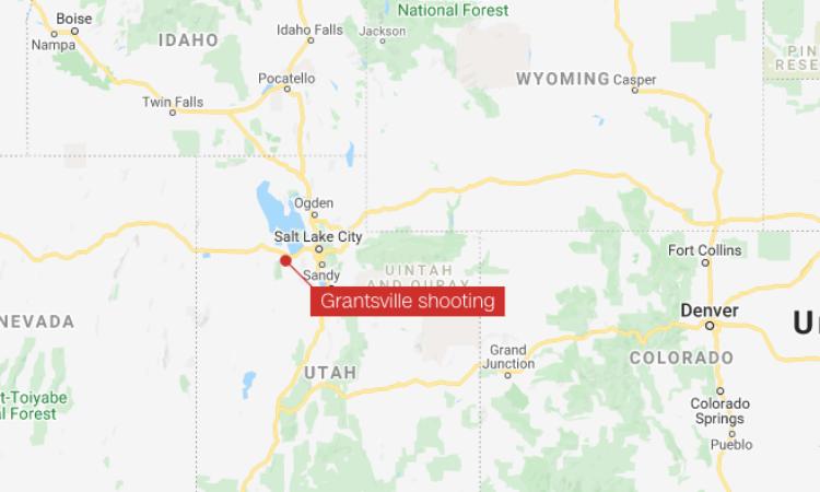 Khu vực xảy ra vụ nổ súng ở Grantsville, bang Utah, Mỹ, hôm qua. Đồ hoạ: CNN.