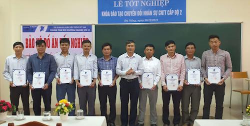 Ông Nguyễn Văn Minh, Phó trưởng ban Nhân lực, Giám đốc Trung tâm Bồi dưỡng nghiệp vụ VNPT - trao Giấy Chứng nhận tốt nghiệp Khóa đào tạo chuyển đổi nhân sự CNTT của VNPT.