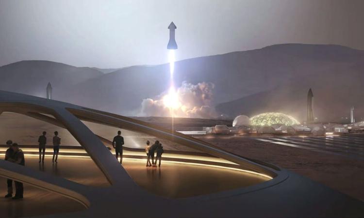 Đội tàu vũ trụStarship có thể đưangười lênsao Hỏa. Ảnh: Space.