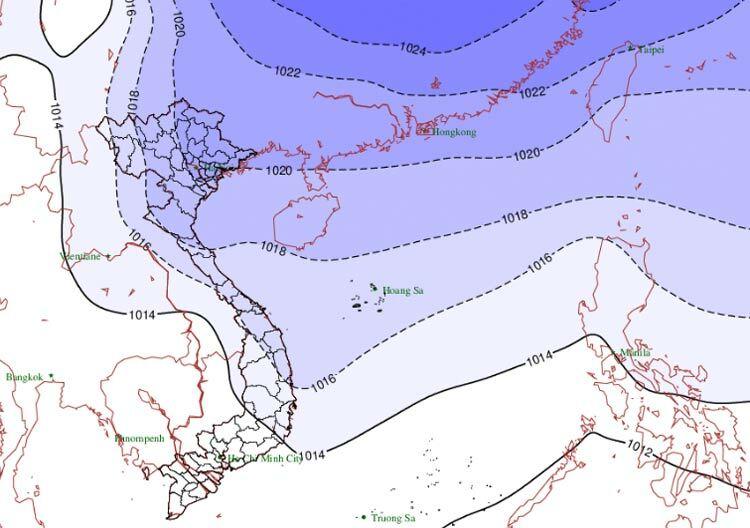 Bóng màu xanh tím là dự báo phạm vi ảnh hưởng của không khí lạnh tăng cường. Đồ họa: NCHMF.
