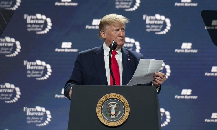 Tổng thống Mỹ Donald Trump phát biểu tại sự kiện của Liên đoàn Cục Nông nghiệp ở thành phố Austin, Texas ngày 19/1. Ảnh: AFP.