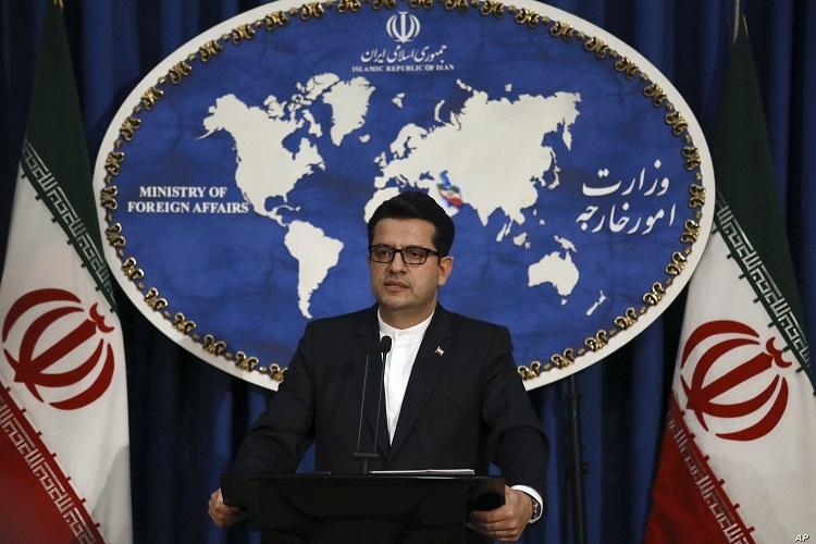 Người phát ngôn Bộ Ngoại giao Iran Mousavi phát biểu tại buổi họp báo hồi tháng 5/2019. Ảnh: AP.