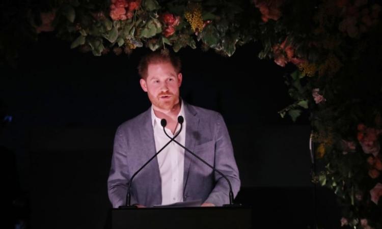Harry phát biểu trong buổi lễ của tổ chức từ thiện Sentebale ở London, Anh, hôm qua. Ảnh: Twitter/ Sentebale.