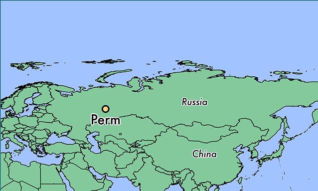 Vị trí thành phố Perm trên bản đồ Nga. Đồ họa: World Atlas.