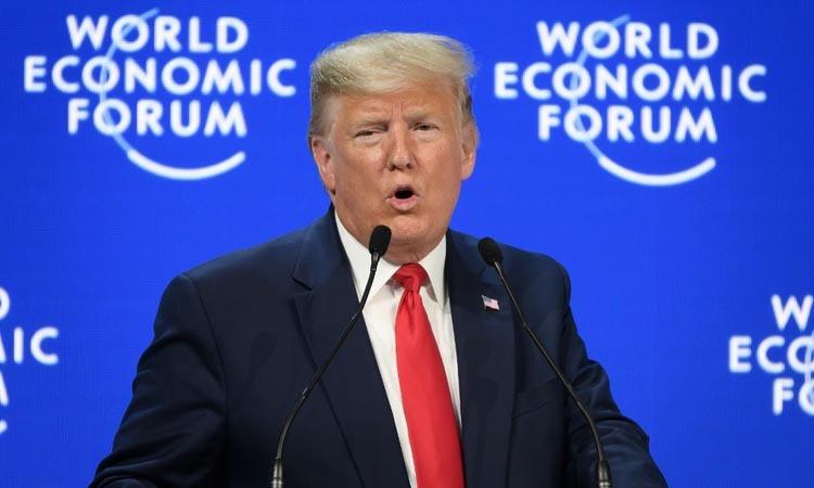 Tổng thống Mỹ Donald Trump phát biểu trước Diễn đàn Kinh tế Thế giới ở Davos, Thụy Sĩ hôm nay. Ảnh: AFP.
