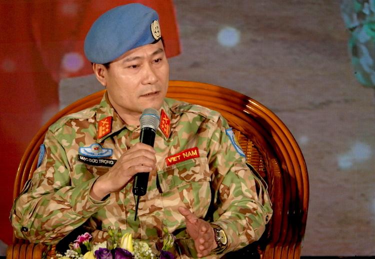 Đại tá Mạc Đức Trọng, Phó Cục trưởng Gìn giữ Hoà bình Việt Nam khẳng định, an toàn của cán bộ chiến sĩ luôn được đặt lên hàng đầu khi làm nhiệm vụ tại Nam Sudan. Ảnh: HT