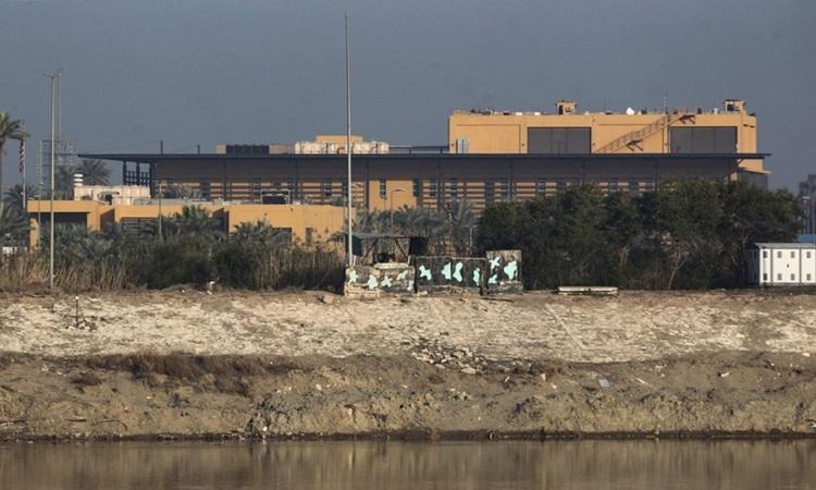 Đại sứ quán Mỹ tại Baghdad, Iraq. Ảnh: AFP.