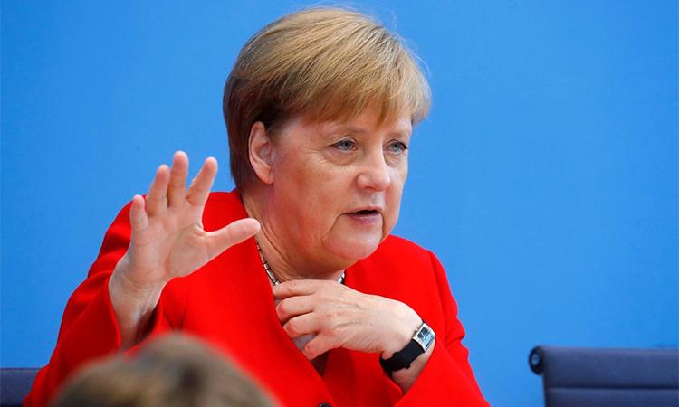 Thủ tướng Đức Merkel tại họp báo mùa hè thường niên ở Berlin tháng 7/2019. Ảnh: Reuters.