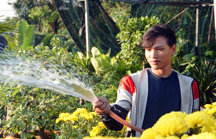 Trần Xuân Đức tưới vườn cây cảnh trên đường Phạm Văn Đồng (quận Thủ Đức)trưa 20/1. Ảnh: Mạnh Tùng.