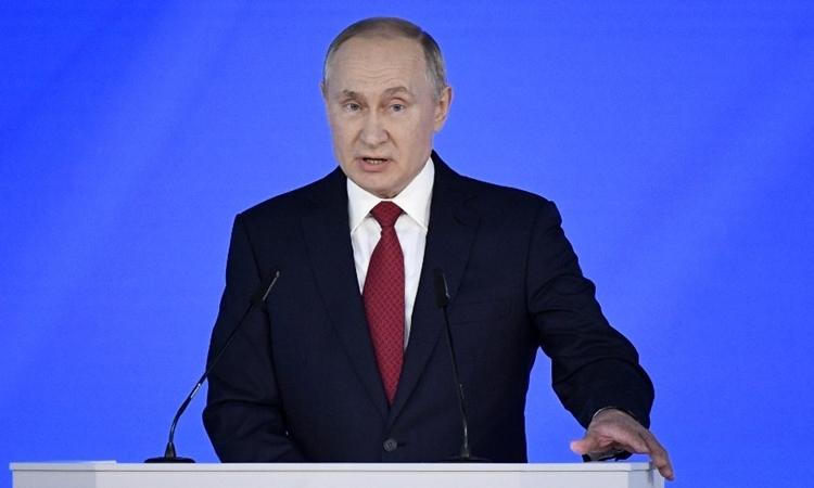 Tổng thống Putin đọc Thông điệp Liên bang ở Moskva ngày 15/1. Ảnh: AFP.