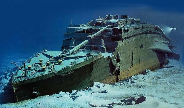 Đồ họa thể hiện xác tàu Titanic dưới đáy biển. Ảnh: RMST.