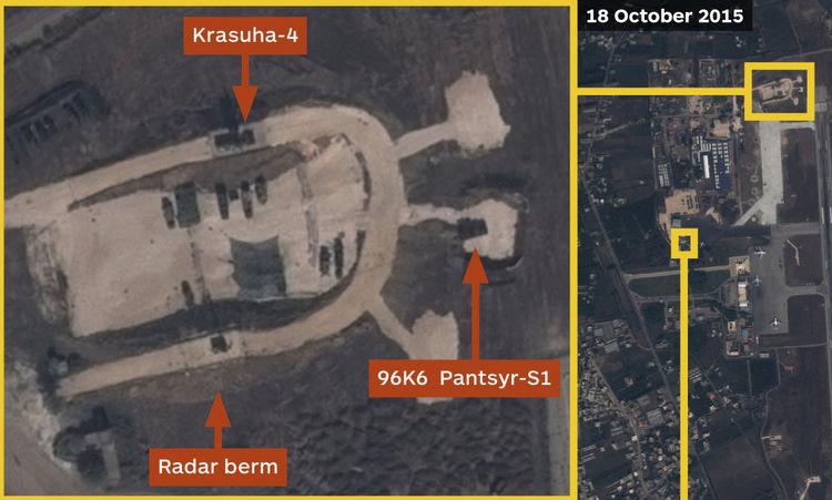 Hệ thống Krasukha-4 tại căn cứ Hmeymim ở Syria hồi tháng 10/2015. Ảnh: Airbus.