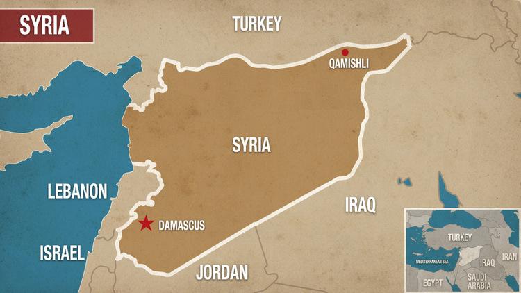 Vị trí căn cứ Qamishli ở miền bắc Syria. Đồ họa: Alaraby.