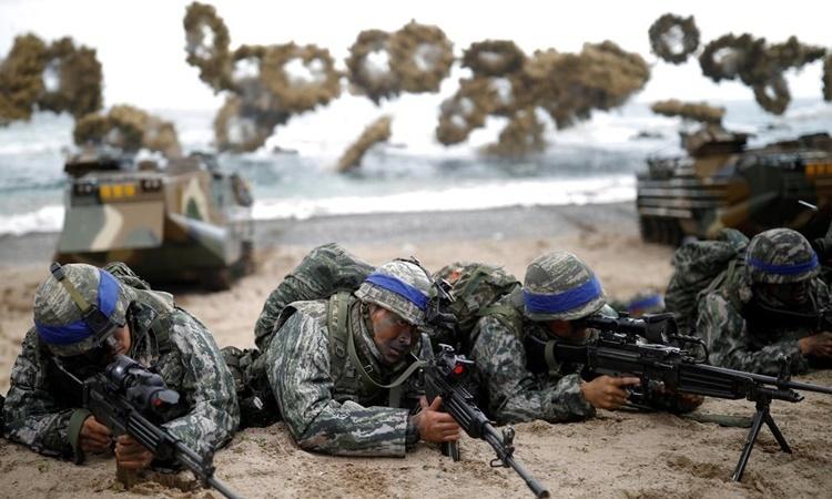 Lính Hàn Quốc tham gia tập trận Đại bàng Non 2018. Ảnh: Reuters.