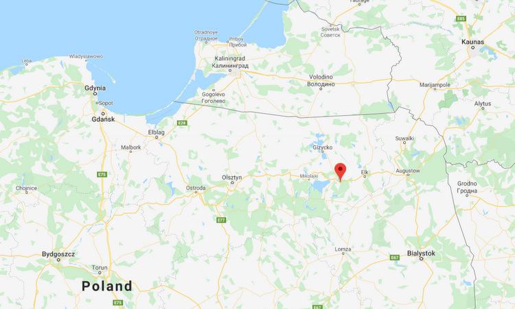 Vị trí thị trấn Gorzekaly và vùng lãnh thổ Kaliningrad. Đồ họa: Google Maps.