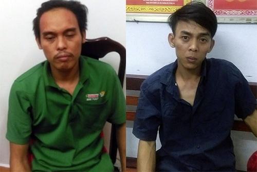 Đặng Ngọc Minh (áo xanh) và Đặng Ngọc Giàu khi bị bắt giữ. Ảnh: Công an cung cấp