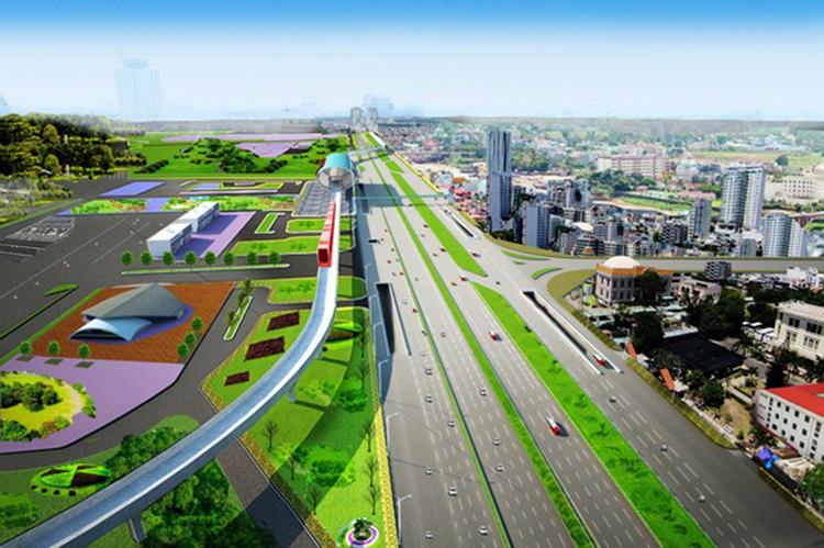 Phối cảnh cầu vượt trên xa lộ Hà Nội vào Bến xe Miền Đông mới. Ảnh: TCIP