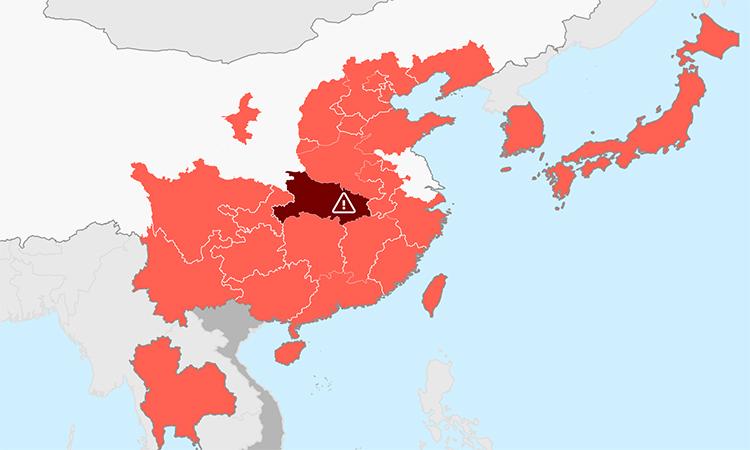 Các nước có bệnh nhân nhiễm virus viêm phổi Vũ Hán tính đến ngày 23/1. Bấm vào ảnh để xem đầy đủ.