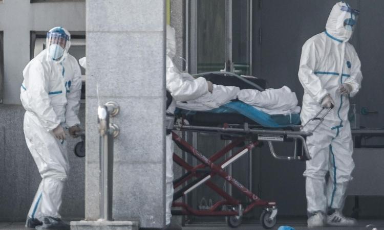 Nhân viên y tế đưa bệnh nhân vào viện ở thành phố Vũ Hán, hôm 18/1. Ảnh: AFP.