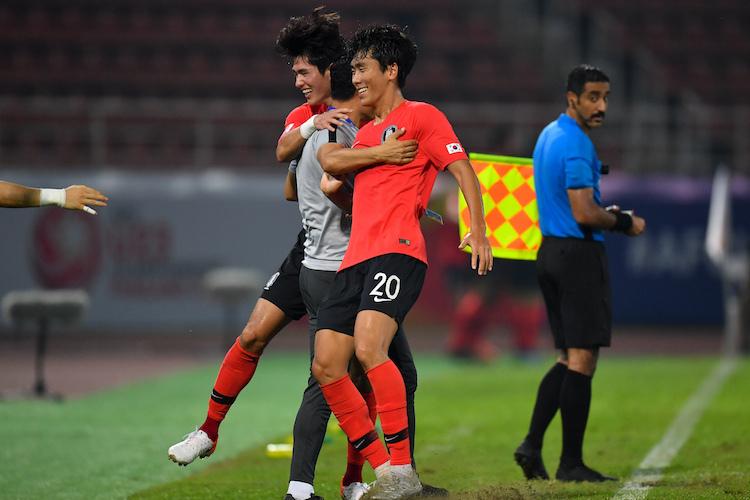 Hàn Quốc có thói quen ghi bàn quyết định trong thời gian bù giờ tại giải U23 châu Á năm nay. Ảnh: AFC.