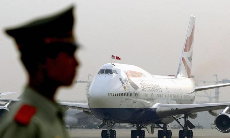 Máy bay Boeing 747 của hãng hàng không British Airways tại sân bay Bắc Kinh, Trung Quốc. Ảnh: AFP.