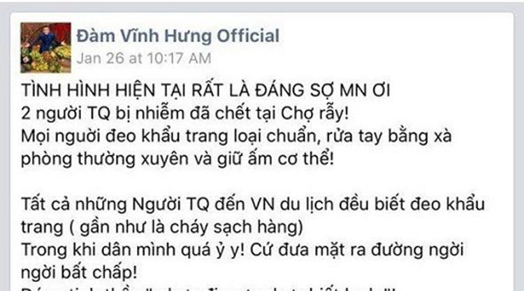 Thông tin sai sự thật được ca sĩ Đàm Vĩnh Hưng đưa lên Facebook. Ảnh chụp màn hình.