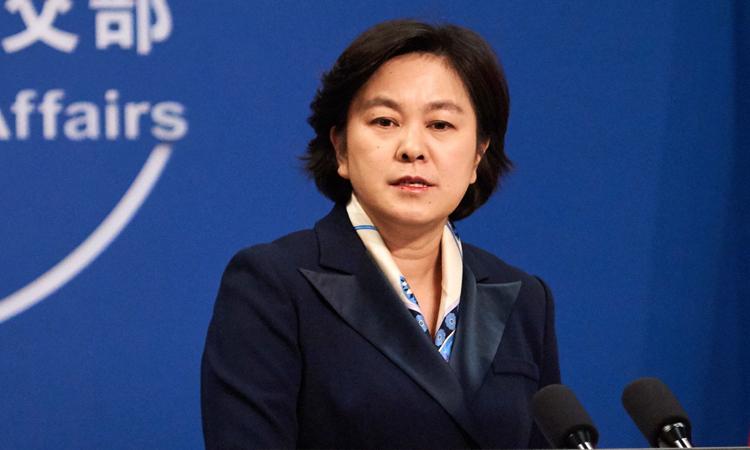 Người phát ngôn Bộ Ngoại giao Trung Quốc Hoa Xuân Oánh trong buổi họp báo tại Bắc Kinh hồi tháng 9/2019. Ảnh: Xinhua.