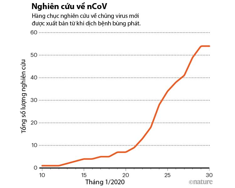 Hơn 50 nghiên cứu về nCoV được xuất bản chỉ trong 20 ngày. Nguồn: Nature.