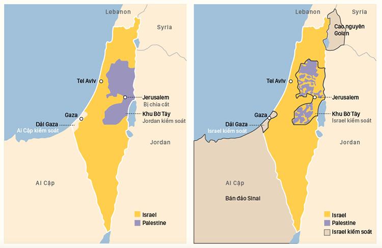 Biến đổi lãnh thổ Israel - Palesntine (click vào hình để xem chi tiết). Đồ hoạ: Việt Chung.