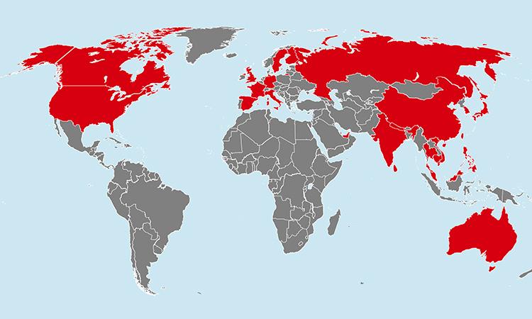 Các nước có bệnh nhân nhiễm nCoV. Bấm vào ảnh để xem chi tiết.