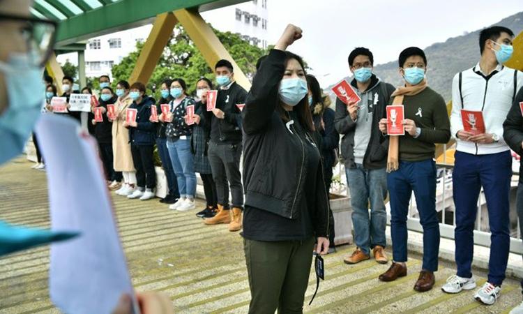 Nhân viên y tế Hong Kong đình công sáng nay. Ảnh: AFP.