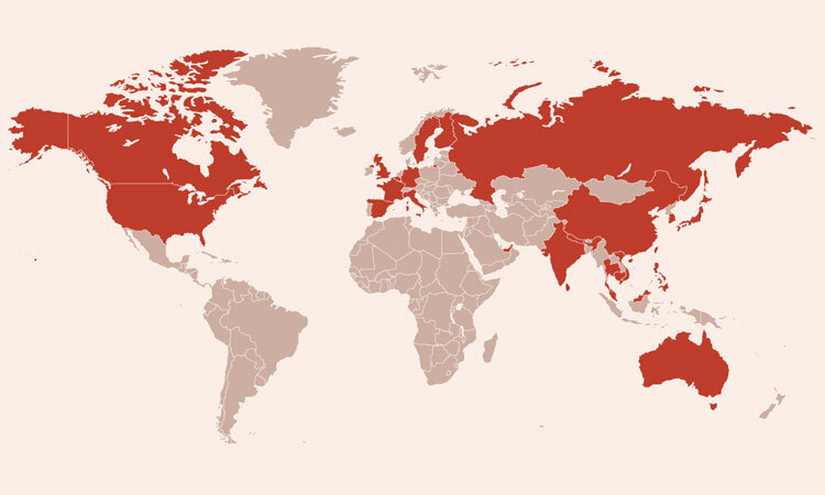 Các nước có bệnh nhân nhiễm virus corona. Bấm vào ảnh để xem chi tiết.