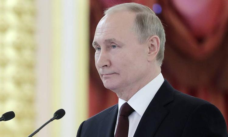 Tổng thống Nga Putin tại buổi trình ủy nhiệm thư của đại sứ 23 nước ở Điện Kremlin hôm 5/2. Ảnh: Tass.