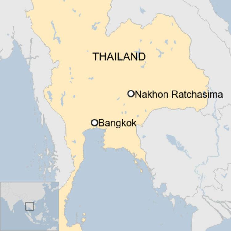 Vị trí thành phố Nakhon Ratchasima của Thái Lan. Ảnh: BBC.