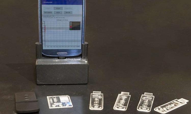 Kết quả xét nghiệm từ thiết bị được đọc trên ứng dụng di động. Ảnh: UC.