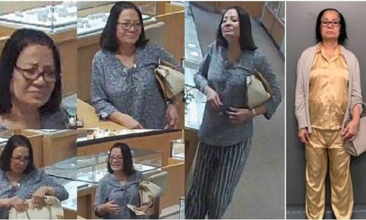 Hình ảnh Huong Thị Tran được camera an ninh tại các cửa hàng trang sức ghi lại. Ảnh: Courtesy of Escondido Police Department.