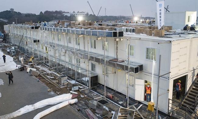 Bệnh viện Hỏa Thần Sơn được xây dựng ngày 1/2. Ảnh: Xinhua.