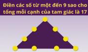 Điền từ một đến chín để tổng mỗi cạnh là 17