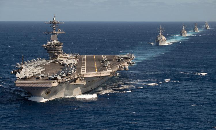 Nhóm tàu sân bay Mỹ trên Thái Bình Dương hồi tháng 1. Ảnh: US Navy.